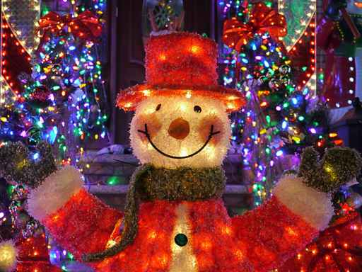 Christmas outdoor Christmas decorations - Snowman lights up hous